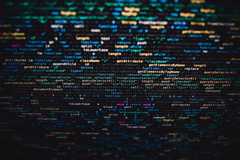 code on computer screen